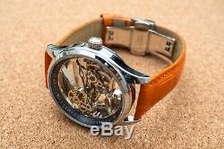 Mens Flywheel Bridge Movement Automatic Mechanical Watch Silver Orange Deployant