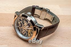 Mens Flywheel Leather Quality Luxury Bling Skeleton Automatic Mechanical Watch
