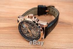 Mens Flywheel Stainless Steel Skeleton Exhibition Automatic Mechanical Watch