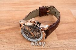 Mens Luxury Skeleton Automatic Mechanical Watch Rose Gold White Dial Leather