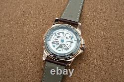 Mens Rose Gold Double Flywheel Skeleton Automatic Mechanical Watch Brown Leather