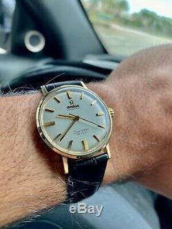 Mens Vintage 1966 Omega Seamaster Deville Automatic Wristwatch 14k Gold Bezel