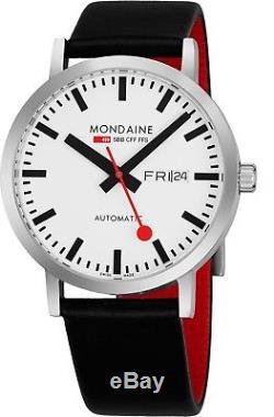 Mondaine Men's Classic Automatic White Dial Leather Strap Watch A1323035916SBB