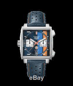 NEW TAG Heuer Men Swiss Automatic Monaco Gulf Blue Leather Watch CAW211R. FC6401