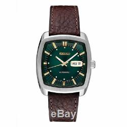 New Seiko SNKP27 Men's Automatic Recraft Green Dial Brown Leather Strap Watch