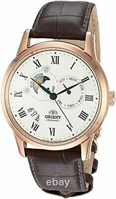 Orient Men's FET0T001W0 Sun and Moon Analog Display Automatic Brown Watch