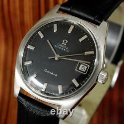 Original Omega Geneve Automatic Sc Quickset Date Steel Swiss Gents Watch 166.041