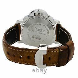 Panerai Luminor GMT Steel Leather Black Dial Automatic Mens Watch PAM00088