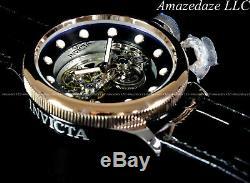 RARE Invicta 52mm Russian Diver GHOST BRIDGE AUTOMATIC ROSE TONE Leather Watch