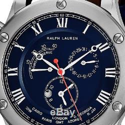 Ralph Lauren Men's Sporting World Time Swiss Automatic Strap Watch RLR0210700