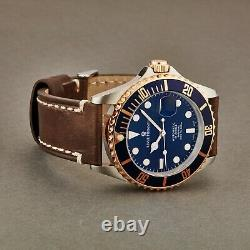 Revue Thommen Diver Blue Dial Brown Leather Strap Automatic Watch 17571.2555