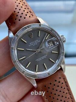 Rolex 1501 Oyster Perpetual Date Grey Dial Automatic Mens used vintage watch Box