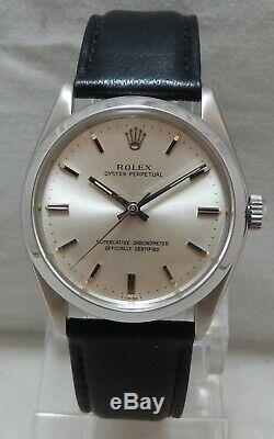 Rolex Oyster Perpetual 34 mm Mens SS Watch Original Dial On Leather Strap 1967