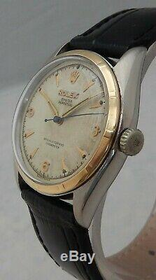 Rolex Oyster Perpetual Bubbleback 6085 18k/SS Gold Mens Watch W\ORIG Dial 1951