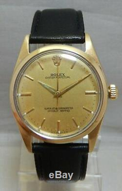 Rolex Oyster Perpetual Gold Capped Model 1014 Mens Watch On Lamb Strap 1961