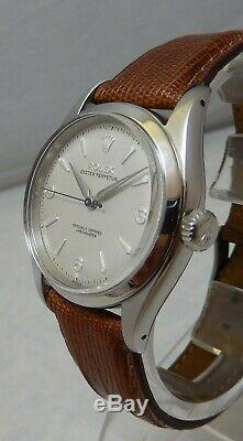Rolex Oyster Perpetual Mens SS 6580 Watch 34 mm On Lizard Band cal 1030 1954