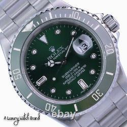 Rolex Submariner Watch Stainless Steel Green Diamond Dial & Ceramic Insert 16610