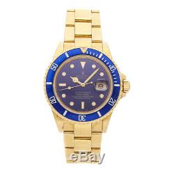 Rolex Submariner Yellow Gold Blue Dial 16618 Automatic Men's Watch