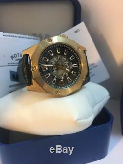 Rotary GS03602/A/04 Men's Automatic Rose Gold PVD Skeleton Leather Watch £299