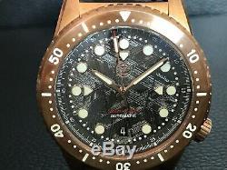 Rrp$1150 Rare Ltd Ed#18/75 Zelos Mako V2 Bronze Meteorite Automatic Divers Watch