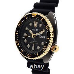 SEIKO Prospex SRPD46K1 Turtle Black Gold Automatic Scuba Watch INT'L WARRANTY