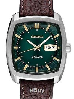SEIKO RECRAFT Series Square Green Dial Brown Leather Band Automatic WATCH SNKP27