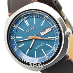 SEIKO Recraft SRPC13 UFO Blue Dial Automatic Mens Watch Vintage Brown Leather