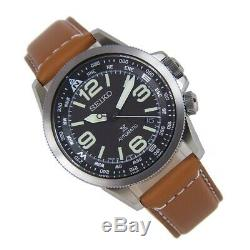 SEIKO SRPA75 SRPA75J JAPAN PROSPEX Automatic Black Dial BROWN Leather Mens Watch