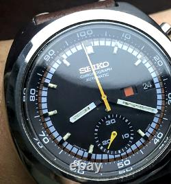 SEIKO Vintage RACER Chronograph 6139-7002 1973 MINT Racing Strap Japan Automatic