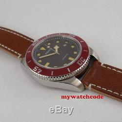 SS 43mm PARNIS BLACK dial date Sapphire Glass miyota 8215 automatic mens Watch