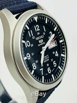 Seiko 5 Sports Automatic Military Blue Dial Canvas Mens Watch SNZG11K1 RRP £199