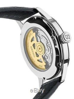 Seiko Men's Presage Open Heart Two-Tone Automatic Black Leather Watch SSA359