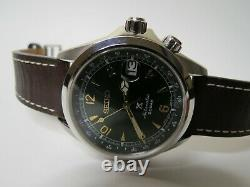 Seiko Prospex Alpinist Automatic Watch Green Dial Brown Leather 6R35-00E0