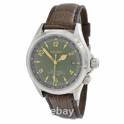 Seiko SARB017 Alpinist Men's Automatic Watch Brown Leather Band Green Dial