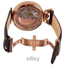 Stuhrling 127A 334553 Emperor Grandeur Automatic Dual Time Skeleton Mens Watch