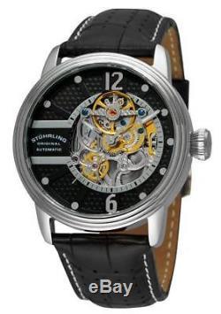 Stuhrling 308A 33151 Prospero Classic Skeleton Automatic Black Dial Mens Watch