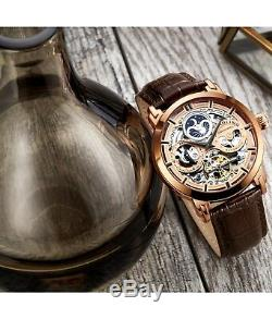 Stuhrling 371 Men's Skeleton Automatic Self Wind Dual Time Dress Watch