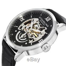 Stuhrling 574 02 Executive II Automatic Skeleton Dial Leather Strap Mens Watch