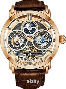 Stuhrling Men's Dual Time AM/PM Sun Moon Phase Automatic Skeleton Leather Watch