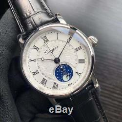 Sugess Genuine Seagull ST2108 59 wheels Moonphase Men Automatic Mechanical Watch