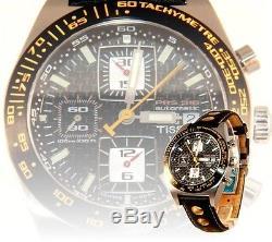 Tissot PRS516 Chronograph Black Dial Black Leather Automatic Men Watch T91142781