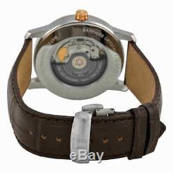 Tissot T-Classic Automatic Two-Tone Titanium Silver Dial Brown Leather Men's