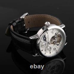 Tourbillon Men's Automatic Mechanical Watch Skeleton Black Dial & Leather Strap