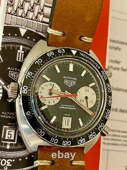 VINTAGE HEUER AUTAVIA 1163 automatic chronograph CAL 12 solid steel large
