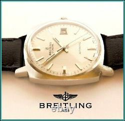 Vintage 1965 BREITLING 2472 Automatic Wristwatch withDate 34mm S. Steel WORKING
