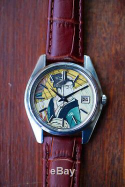Vintage KING SEIKO 5625-7000 Blocky First Automatic Watch with Ukiyo-e Dial