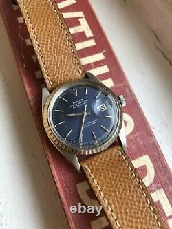 Vintage Rolex Datejust 1603 Blue Dial Automatic Watch With Hodinkee Leather