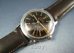 Vintage Zodiac Autographic Stainless Steel Automatic Mens Wind Indicator Watch