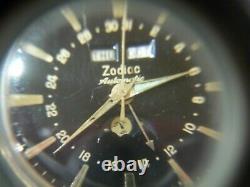 Zodiac Automatic Swiss 1960s Moon Phase Triple Calendar Men's Watch Gold Plated